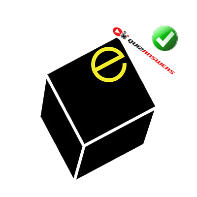 https://www.quizanswers.com/wp-content/uploads/2014/11/black-cube-white-margins-yellow-letter-e-logo-quiz.png